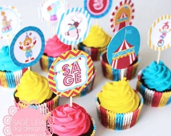 """Custom Printable Carnival Circus Themed Birthday Shower Party Celebration 12 Designs 2"""" Cupcake Toppers"""