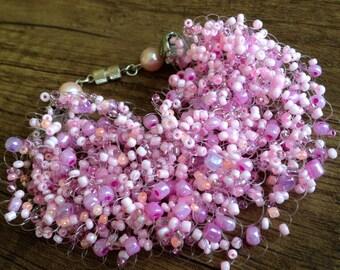 Crochet air bracelet/ Pink air bracelet/ Wedding bracelet/ Beaded bracelet/ Pink bracelet/ Crochet beaded bracelet/ Air beaded bracelet