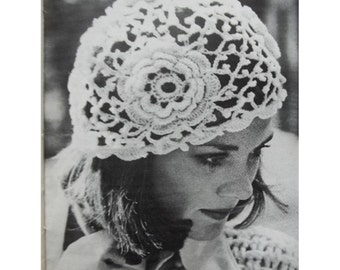 Crochet HAT Pattern Vintage 70s Crochet Flower Hat Pattern Crocheted Hat Pattern