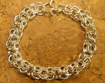 """Welded 0.999 Fine Silver Bracelet  """"Byzantine"""" Chainmail Chainmaille Chain Mail - Choose Length, 5/16"""" Thick, Purer than Sterling Silver"""