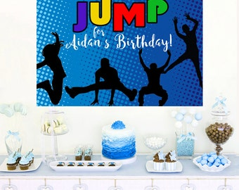 JUMP Trampoline Fun Personalized Backdrop - Birthday Cake Table Backdrop Birthday- Flip n Out Birthday Backdrop, Custom Backdrop