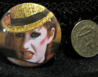 Columbia, pinback, button, pin, rocky, horror, picture, show, movie, musical, nell, campbell, 1.5 inch