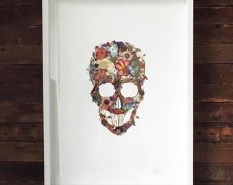 Día de los Muertos ~ Pressed Flowers Drawing