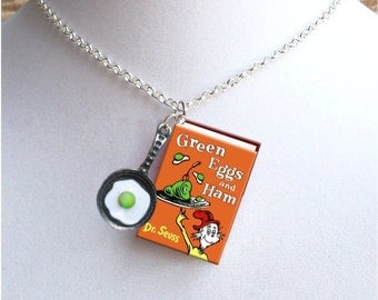 Green Eggs And Ham with Fried Green Egg in Pan Charm - Miniature Book Necklace
