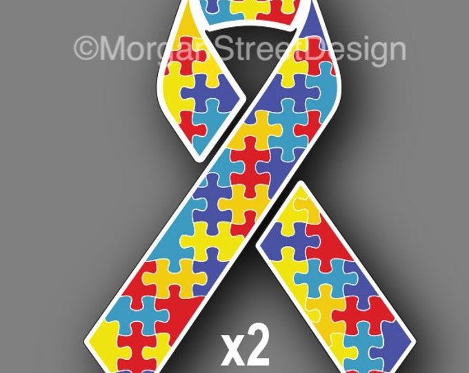 "Two Autism Awareness Ribbons 3"" Vinyl Decal Sticker"