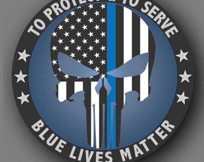 Punisher Blue Lives Matter Police Die Cut Vinyl Decal Sticker