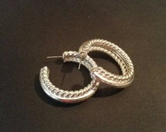 Vintage Silver Hoop Earrings Costume Jewelry