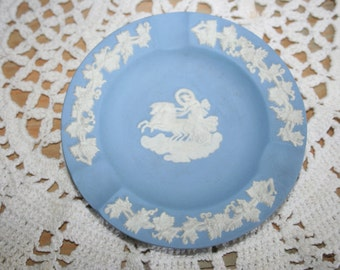 Vintage Wedgwood Ash Tray, Small Dish, Blue and White ,Jasperware,  Made in England