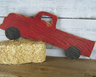 Wooden Truck Wall Art Pickup Truck Sign Red Truck Nursery Toy Truck Wall Art Playroom Decor Vintage Truck Pick Up Truck Antique Truck