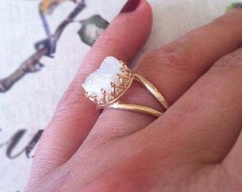 White Druzy Quartz Ring, Gemstone Ring, White Druzy Quartz,  White Druzy Ring, Vintage Ring ,Druzy Ring , Ring For Women