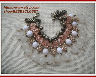 Cha Cha Bracelet  Multi colored , Faceted Beads peach /white /off White/gold tone  /clear  beads/ Rhinestones
