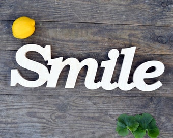 Wooden Smile sign, wooden letters, wooden signs for home, wall atr decor,