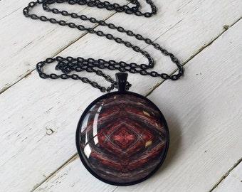 Redbull's Eye 38mm pendant necklace, original design, glass photo jewelry, wearable art