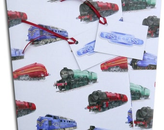 Steam and diesel locomotive engine train  gift wrapping
