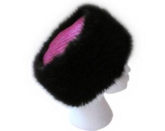 Harris Tweed Pink & Purple Weave Cossack Hat with Luxury Black Faux Fur