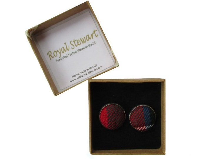 Royal Stewart Pure Wool Tartan Handmade Boxed Cufflinks