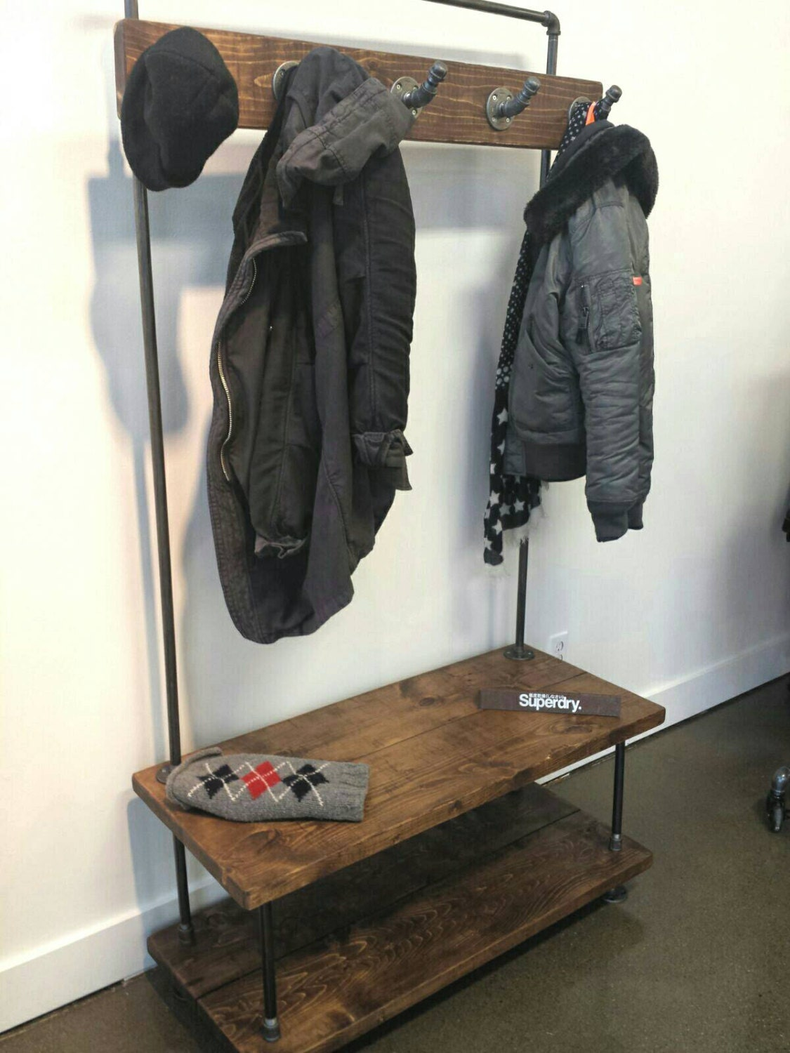 Industrial Pipe And Wood Entry Coat Rack Bench Entrance