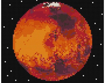 PDF Cross Stitch pattern - 0054.Mars planet - INSTANT DOWNLOAD