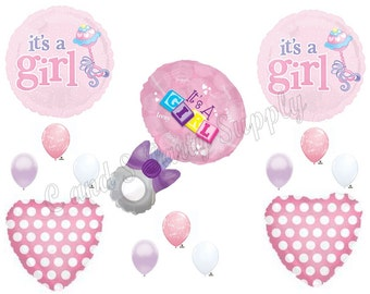 IT'S A GIRL Rattle Baby shower Balloons Decoration Supplies Blocks Pink