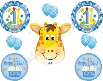 BOY'S FIRST 1st GIRAFFE Happy Birthday Balloons Decoration Supplies Safari