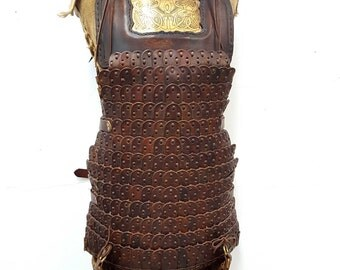 Hand Crafted Leather Armour - Lamellar with acid etched brass plates and pauldrons