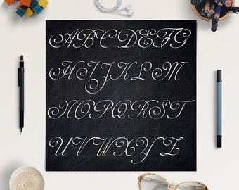 CURSIVE HANDWRITING, Chalkboard Alphabet, Chalkboard Letters, Chalkboard Font Clipart, Coupon Code: BUY5FOR8