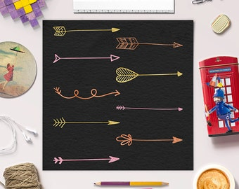 FOLLOW YOUR ARROW, Tribal Arrow Clipart, Hand Drawn Arrow Clip Art, Arrows Graphics, Set of 27 Doodle Arrows, Instant Download, BUY5FOR8