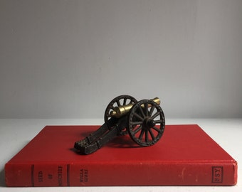 Vintage Brass and Cast Iron Cannon, made in USA
