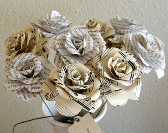 Paper Roses - Book Page & Sheet Music Bouquet