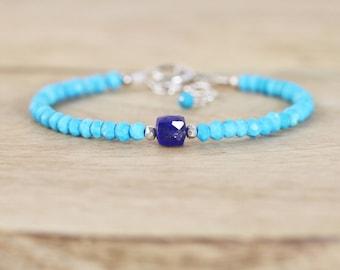 Lapis Lazuli & Turquoise Beaded Bracelet in Sterling Silver or Gold filled. Stacking Bracelet. Blue Sleeping Beauty Gemstone Jewellery