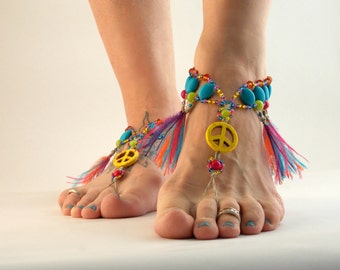 Hippie Barefoot Sandals, Bright Colors, Feather Fringe Anklet, Barefoot Jewelry, Toe Thong, Foot Accessories, Dance Costume, Handmade, Hemp