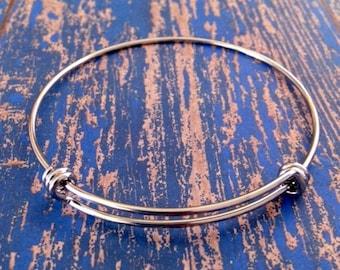 60mm SINGLE OR BULK Silver Stainless Steel - Adjustable Expandable Bangle Bracelet - Medium - Wire Bangle - Wholesale Bulk Charm