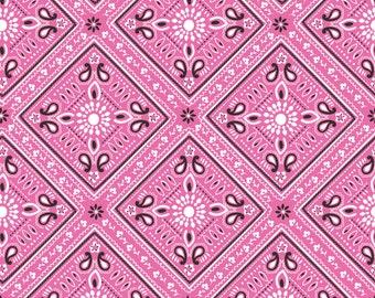 Luckie Bandana Pink fabric by Blend fabrics from the Luckie line Pink bandana print fabric