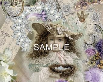 "Fabric Art Quilt Block *Bird's Nest Collage"" 12-835 FREE SHIPPING"