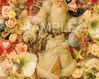 Fabric Art Quilt Block -  Old World Santa Collage - 13-1651 FREE Shipping