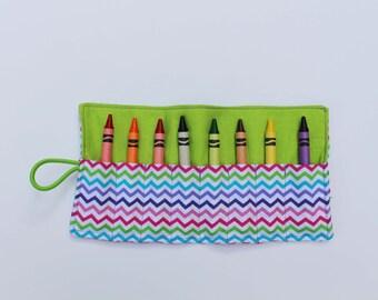 Rainbow Chevron Crayon Roll with 8 Crayons
