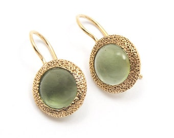 Green Amethyst Quartz Gold Plate Earrings