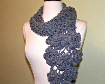 On Sale- Gray Flower Scarf Stole Shawl Irish Crochet  Lace Freeform Irish Rose Flowers Leaves