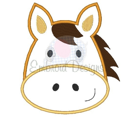 Horse applique machine embroidery design by
