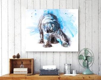 canvas prints, extra large wall art, bedroom decor,  polar bear, watercolor print, animal painting, large wall art, 18x24, canvas, 5x7