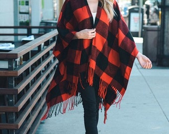 Conrad - plaid poncho, womens poncho, womens wrap, shawl, ruana, boho chic