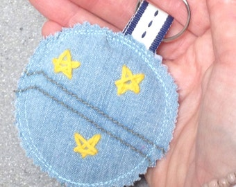 Gold star keyring, Hand embroidered Keychain, Scrappy Fabric tag, Upcycled denim keyfob, Cute rustic stitching, Eco gift ideas for kids