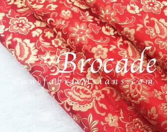Red brocade. Oriental fabric
