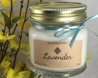 Hand-Poured Soy Candle - Lavender 8oz.