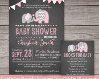 PRINTED Elephant Baby Shower Invitation Girl - Chalkboard Baby Shower Invitations - Girl - Pink - Elephants - Baby-103