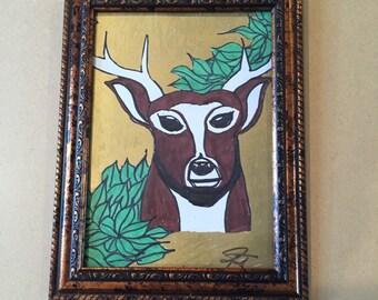 Framed 5x7 drawing of deer