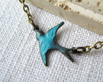 Teal Sparrow Charm, Sparrow Necklace, Bird Necklace, Blue Bird, Bird Jewelry, Necklace with Bird, Brass Sparrow, Brass Bird, Bird, Bird Gift