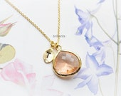 Personalized peach necklace in gold,  Champagne necklace, Initial necklace, Bridesmaid gift, Wedding necklace, Bridesmaid set