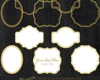 Gold Glitter Frames / Frames and Labels Clip Art - Instant Download - CA092