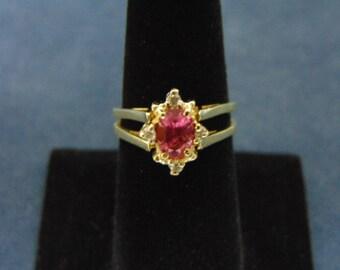 Womens Vintage Estate 14k Yellow Gold Reversible Ring w/ Diamonds & Garnet 4.8g E2198